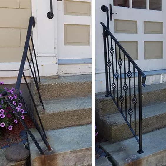 Double Iron Handrails, Before and After