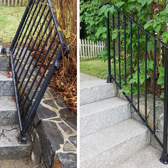 Simple Iron Railing for Steps in pathway, Before and After